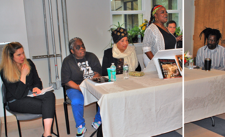 Panel at May 4 public meeting against police brutality in Albany, New York, co-sponsored by Militant Labor Forum and Stolen Lives Project. From left, Samantha Hamlin, Juanita Young, Hawa Bah, Beverly Hoggs (speaking), Jacob Perassso (chair) and Messiah James Cooper.