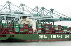 Container ship loaded with goods from China berths at Port of Los Angeles in 2011. U.S. rulers are using Huawei ban and tariffs on greater volume of imports from China as leverage against Beijing in trade talks. Competing rulers seek deal that best defends their capitalist interests.