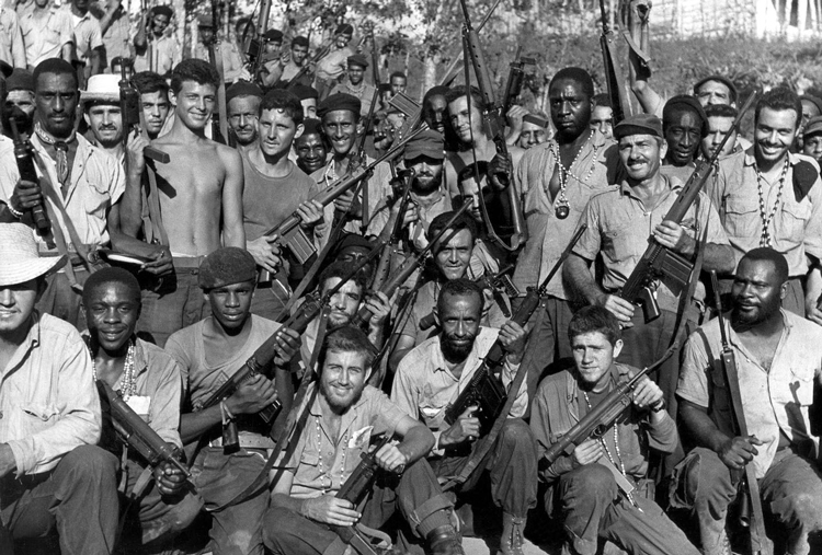 Cuban militia celebrates April 1961 victory over U.S.-backed counterrevolutionary forces at Bay of Pigs, first defeat for U.S. imperialism in the Americas. This helped inspire youth in U.S.