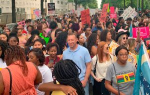 Some 2,000 pro-choice demonstrators in Birmingham, Alabama, May 19 protest passage of strictest anti-abortion bill in the country by Alabama legislature five days earlier.