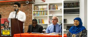 Panel on revolutionary political legacy of Thomas Sankara at People's Forum May 5 in New York. At podium, Manolo de los Santos, executive director of People's Forum, welcomed everyone. From left, Arouna Saniwidi, leader of Burkinabe organization Le Balai Citoyen; Peter Thierjung, Socialist Workers Party; and Asha Samad-Matias, professor at City College of New York.