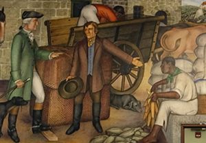 "Scene from Victor Arnautoff's mural ""Life of Washington"" depicting George Washington as slave owner. In a blow to artistic, political rights, San Francisco School Board voted June 25 to destroy the mural, which has been in George Washington High School lobby for eight decades."