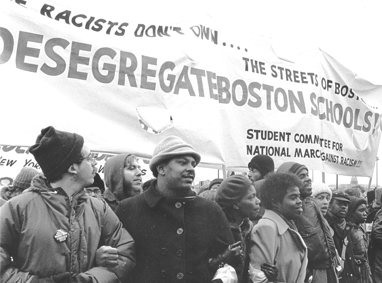 During Democrat candidates' debate, Kamala Harris attacked rival Joe Biden over stance on federally mandated busing to desegregate public schools in 1970s. In fact, neither candidate nor their party supported the policy. Above, Boston protesters defend busing, December 1974.