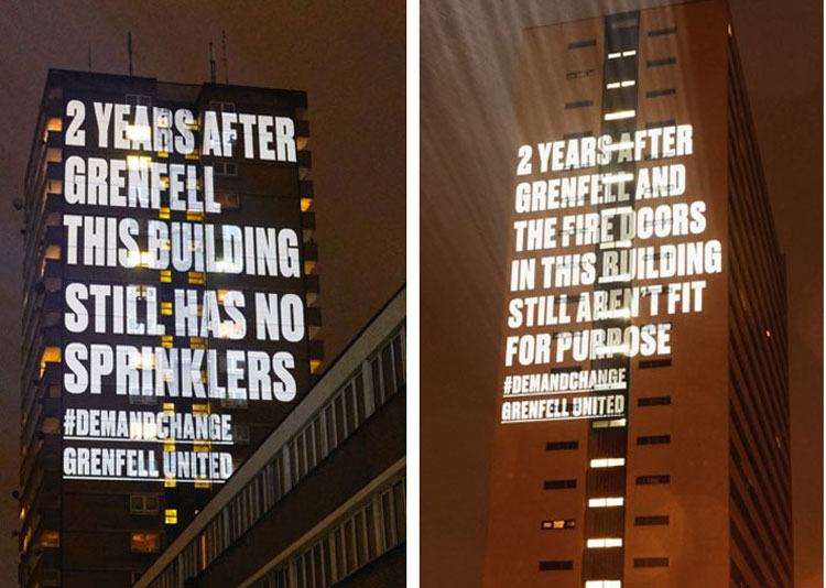Projections beamed onto Frinstead House in west London, left, and Cruddas Park House in Newcastle, two years after Grenfell Tower inferno killed 72 people. Thousands joined protests on second anniversary of disaster against government indifference to dangers workers face.