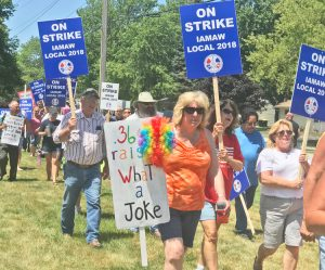 IAM Local 2018 members, on strike against Regal Beloit in Valparaiso, Indiana, and supporters rally July 15 for higher wages, against bosses' demand that workers pay more for health care.