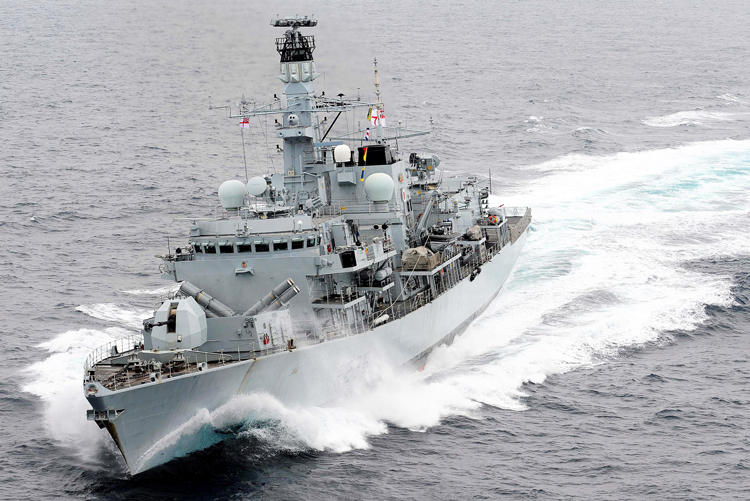 Above, British warship HMS Montrose, which drove off three Iranian vessels London says were trying to block passage of the British Heritage, an oil tanker, in the Strait of Hormuz July 10.