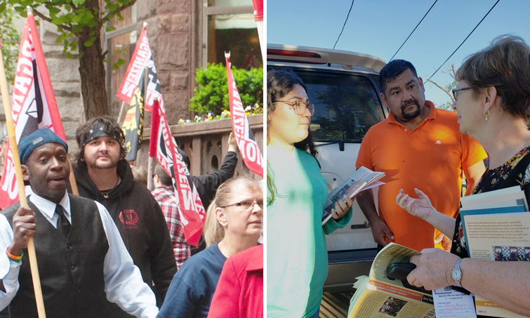 Left, SWP candidate for Pittsburgh City Council Malcolm Jarrett joins Wabtec workers picket May 17. Alyson Kennedy, at right, campaigns door to door in West Dallas in 2018. Two SWP campaigners will travel, speak across country.