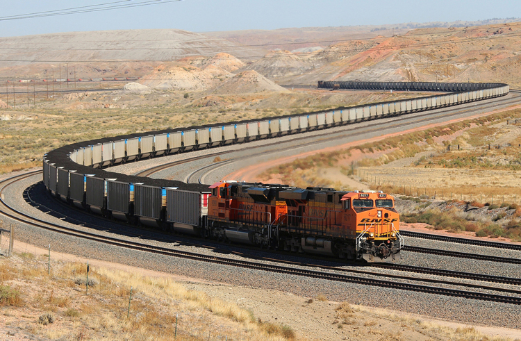 Coal train near Powder River Basin area of northeast Wyoming. BNSF bosses recently began running dangerously extra-long coal trains from Wyoming mines to Wisconsin. SWP program calls for trains with no more than 50 cars and crew of four, two on each end of the train.