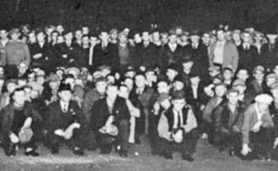Teamsters Local 544 Union Defense Guard assembles in Minneapolis, 1938. Union volunteers organized to resist assaults by employer-funded fascist groups. SWP leader James P. Cannon explains that workers should protect themselves where necessary from hoodlum violence by anti-working-class forces.