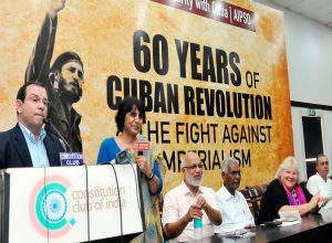 Fernando González, speaking at July 24 event in solidarity with Cuba in New Delhi.