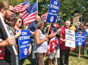 IAM Local 2018 members on strike for higher pay and against bosses attacks on health care at Regal Beloit, rally with supporters outside factory in Valparaiso, Indiana, Aug. 2.