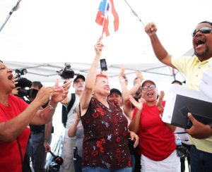 Workers at Cadillac Uniform & Linen Supply in Bayamón, Puerto Rico, celebrate Sept. 2 the winning of a wage increase and improved working conditions in one-week strike.