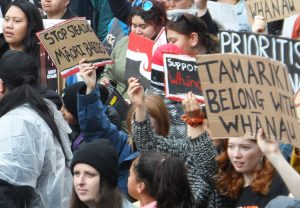 Some 400 people protest in Wellington, New Zealand, July 30 against state's seizure of Maori children. They heard midwives explain why they had joined fight against seizure at hospital.