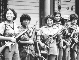 Women in militia in Bluefields, Nicaragua, 1983. After revolutionary course was abandoned by Sandinista leaders in late 1980s, women lost many gains. Abortion was totally banned in 2006.