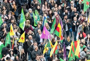 Tens of thousands of Kurds and supporters demonstrated Oct. 19 across Germany, including in Frankfurt, above, to protest Ankara's invasion of the Kurdish region in northeastern Syria.