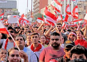 "Oct. 22 protest in Tripoli, Lebanon. Beginning to overcome sectarian and religious divisions, thousands have been protesting across the country against government's ""austerity"" assault."