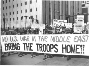 """Protest against coming U.S. war on Iraq Dec. 8, 1990, in Salt Lake City, Utah. U.N. Security Council unanimously backed Washington, except for revolutionary Cuba, which voted """"No."""""""