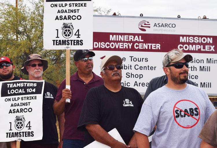 Mineros del cobre en huelga en mina Mission, Arizona, nov. 11. Asarco quiere destruir el sindicato.