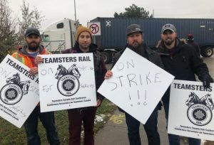 Canadian National rail workers picket in Brampton, Ontario, Nov. 19, part of strike for safety.