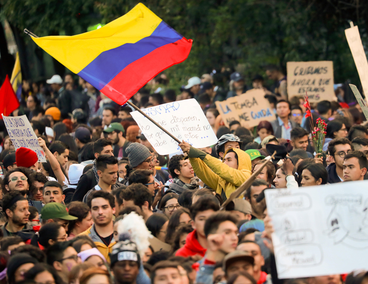 Days after hundreds of thousands of union workers, students, indigenous and farmers joined anti-government actions across Colombia, protests and strikes continued in Bogota Nov. 25.