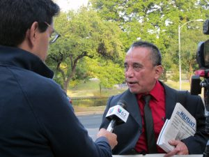 Gerardo Sanchez, Socialist Workers Party candidate for U.S. Senate from Texas, one of party's 2020 candidates, interviewed at Nov. 17 protest celebrating stay of execution of Rodney Reed.