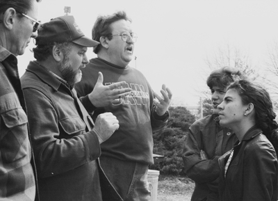 Cuban youth leader Kenia Serrano, right, on U.S. speaking tour, listens to UAW pickets on strike at Caterpillar plant in York, Pennsylvania, March 1995, explain their fight. Strikers also welcomed learning from Serrano about the Cuban Revolution.