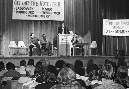 Above, Ed Sadlowski, Steelworkers Fight Back candidate for union president, speaks at Detroit rally, Feb. 5, 1977. Ranks used campaign to seek control over their union and end to USWA officials' connivance with steel bosses.