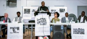 "Panelists at ""Legacy of Thomas Sankara"" meeting held Dec. 8 in Harlem. From right, Boukary Sawadogo, professor at City College of New York; Issa Zoungrana, representative of Stand for Life and Liberty; Inem Richardson, student at Barnard College; chairperson Boukary Salogo; Basninwende Isonore Dianda, grade school teacher in Harlem; and Peter Thierjung, Socialist Workers Party."