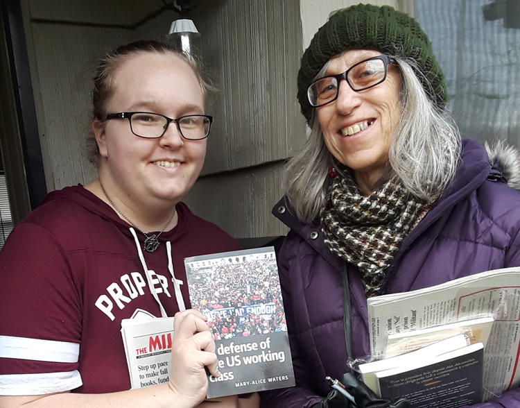 """It's going to take a revolution to make real change,"" Samantha Hanson said to SWP member Jeanne FitzMaurice, right, when she knocked on Hanson's door Nov. 23 in Kent, Washington."