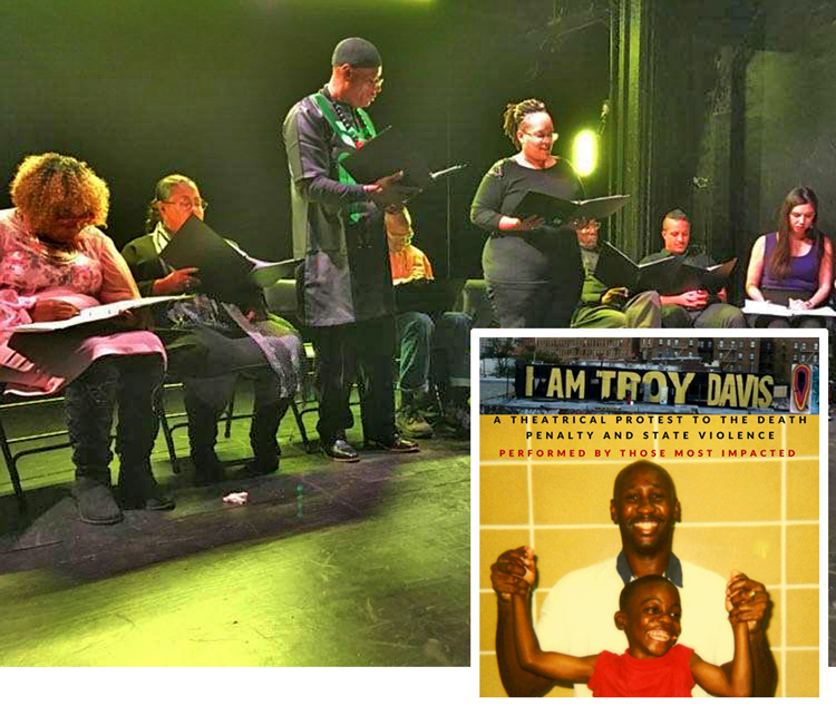 """Standing left is Cephus """"Uncle Bobby X"""" Johnson, uncle of Oscar Grant, killed by BART police in 2009, who portrayed Troy Davis in Dec. 8 New York performance of """"I am Troy Davis."""" Gwen Carr, seated left, mother of Eric Garner who was killed by New York Cop chokehold in 2014, played Davis' mother. Inset is Troy Davis with his nethew, De'Jaun Davis-Correia, whom he mentored and tutored through school from behind bars while on death row."""