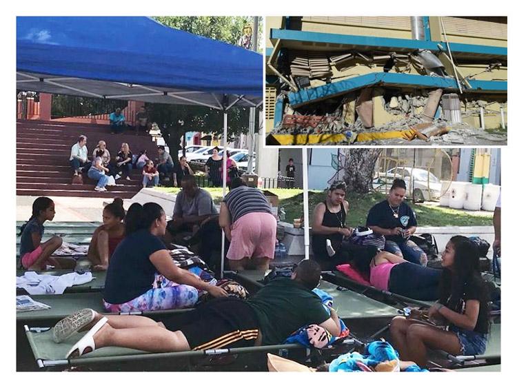 Víctimas de terremoto viven en plaza pública en Sabana Grande, Puerto Rico. Recuadro, escuela en Guánica tras sismo, enero 6. Miles están viviendo en la calle, sin ayuda del gobierno.