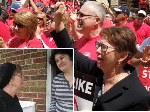 Alyson Kennedy, above, Socialist Workers Party candidate for president in 2016, at rally of striking Verizon workers in Trenton, New Jersey, during campaign. SWP's 2020 campaign offers road of uncompromising working-class struggle as political crisis grips the bosses' two parties. Inset, Kennedy talks with Bojka Milanovich at her home in Elmhurst, Illinois, in 2016.