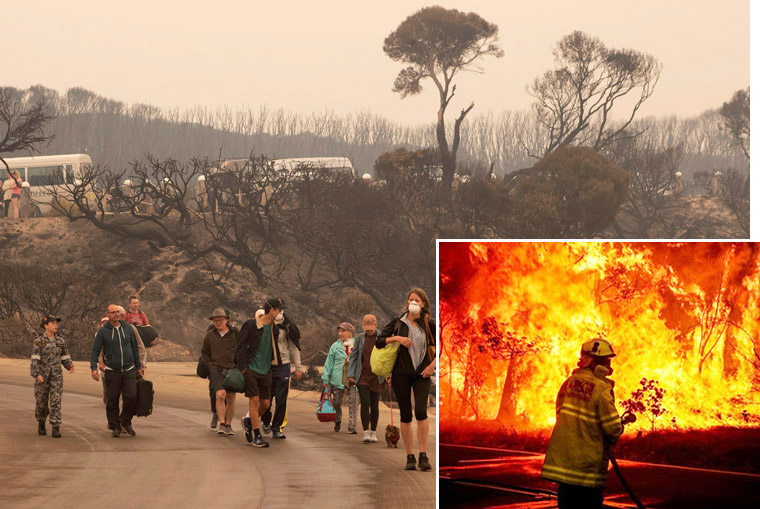 "After deadly wildfires, Australian government belatedly organized evacuation of stranded people trapped on Mallacoota Beach Dec. 31. Inset, volunteer firefighter battles bushfire. Authorities allowed huge buildup of forest and brush, ""a time bomb waiting to go off."""