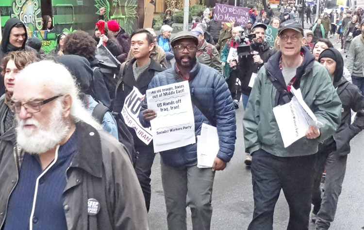 """Protest in New York Jan. 4, part of national weekend of demonstrations calling for """"U.S. out of the Middle East."""" SWP supporters joined in, advancing working-class road forward."""
