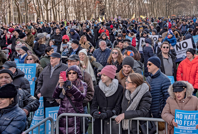 Thousands march from Manhattan to Brooklyn Jan. 5 to protest series of attacks on Jews.