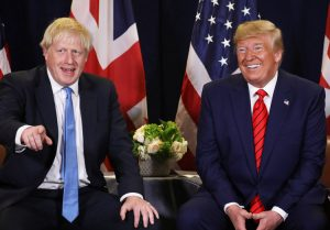 U.K. Prime Minister Boris Johnson, left, and President Donald Trump meet at U.N. meeting last September. After London break with EU, rulers seek trade bloc with Washington to compete.