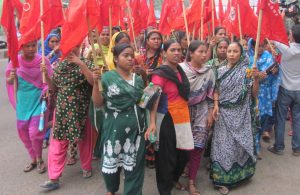 "Women garment workers in Dhaka fighting for union rights, better wages and conditions, October 2014. Bangladeshi ""fashion"" industry workforce of 4 million is 80% female. Women in these factories have joined union struggles, advancing their confidence and status."