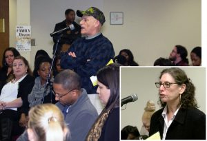 At speak out protesting conditions at Cobb County Detention Center in Marietta, Georgia, Doug Jenkins, above, testifies about being incarcerated there during lockdown. Inset, Rachele Fruit, Socialist Workers Party candidate for U.S. Senate from Georgia, speaks at hearing.