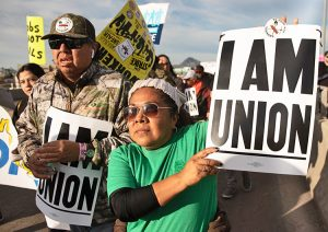 Striking copper workers' contingent joins Martin Luther King Day parade in Tucson, Jan. 20.
