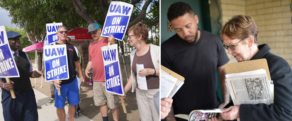 SWP vice presidential candidate Malcolm Jarrett, at left, joins presidential candidate Alyson Kennedy on autoworkers' picket line in Arlington, Texas, during GM strike last fall. Right, Kennedy discusses politics, SWP program with Jason Denton on his doorstep in Dallas, Jan. 25, 2019.
