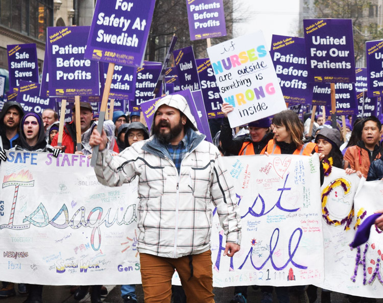 Members of SEIU Healthcare 1199NW rally in Seattle Jan. 29 during three-day walkout at Swedish-Providence hospitals demanding increased staffing for patient care and a wage raise.