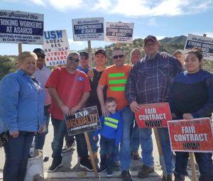 Copper miners on strike against Asarco picket Ray Mine near Kearny, Arizona, Feb. 6.