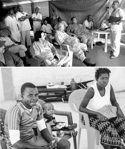 """Arriba: Médicos cubanos y personal guineano en un cambio de turno en el centro de tratamiento en Coyah, Guinea, en enero de 2015. """"Los cubanos llegaban haciendo chistes"""", dice Ubieta. """"Distendían el ánimo propio y el de enfermos y colegas"""". Abajo, tres pacientes que se recuperaron. Ya inmunes, algunos ex-pacientes se quedaron para trabajar con los médicos."""