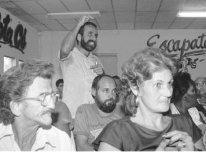 As part of carrying out their revolution, Cuban workers took control of production in the factories and on the land. Above, workers at Havana dairy factory meet in 1994, joining the national debate over how to reorganize production to address shortages in Cuban economy.