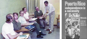 Rafael Cancel Miranda teaching Spanish to fellow inmates in Marion prison in Illinois in 1975. He worked with political prisoners and other workers behind bars to defend their rights and deepen their humanity. At right, Cancel Miranda pamphlet available at pathfinderpress.com.