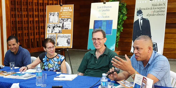 Socialist Workers Party leader Mary-Alice Waters (second from left) presented books on communist course in U.S. at Havana book fair and events organized by CTC (Central Organization of Cuban Workers). Above, CTC headquarters Feb. 20. From right, Ismael Drullet, CTC international relations secretary, and Martín Koppel, Waters, Róger Calero from SWP. We're building parties engaged in daily struggles by working people, Waters said.