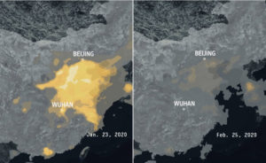 NASA satellite images show pollution over China before coronavirus clampdown Jan. 23. Clear skies a month later reflect far-reaching shutdown of industry.