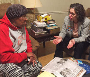 Rachele Fruit, right, SWP candidate for U.S. Senate from Georgia, speaks with Judy Sands March 7 at her home in Juliette, where the power company has contaminated the drinking water.