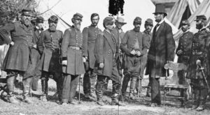 President Abraham Lincoln meets with officers of Union army in 1862. Second American Revolution abolished chattel slavery, also marked the end of progressive political role of U.S. bourgeoisie, wrote Novack.