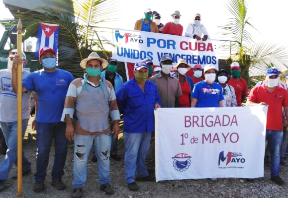 Work brigade initiated by trade union leaders in Camagüey province. With May Day parade called off, volunteers seeking to defend their revolution named contingent May 1st Brigade.